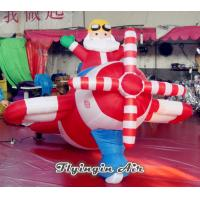 Customized Inflatable Santa Claus with Airplane for Christmas Supplies