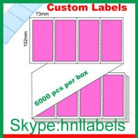 Quality Thermal Transfer Labels 102X73/1 Pink Trans Fanfold Perm, Perfs, 6,000 per box wholesale