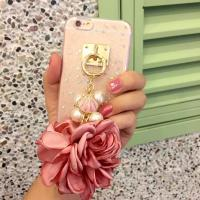 Soft TPU Pink&Blue Pearls Fancy Chain Cell Phone Case Back Cover For iPhone 6 6s Plus