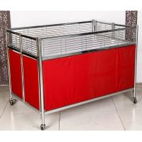 Quality Foldable Moving Supermarket Promotion Table / Durable Metal Shelf Cart With Castors wholesale