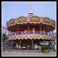 Best romantic amusement playground horse rides double floor carousel with LED light wholesale