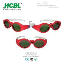 Quality Lovely Red Round Frame USB Recharable Active Shutter 3D Glasses For Children wholesale