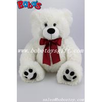 White Stuffed Bear Animal Plush Teddy Bear Toy With Wine Red Ribbon As Nice Gift
