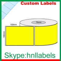 Quality Custom Thermal Label 102mmX150mm/1 Yellow D/Therm Roll Perm,Perfs, 1,000Lpr, 76mm core wholesale