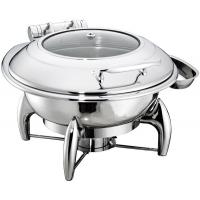 Buy cheap Round Chafing Dish Hydraulic Lid with Glass Window Optional φ35cm 6.0Ltr Food Pan Stainless Steel Cookwares from wholesalers