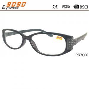 Novelty plastic pattern temple customized colorful rhinestone reading glasses