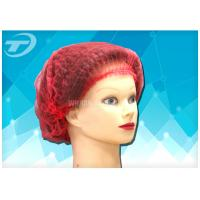 "Quality Non - woven  MOB / clip cap  20 "" , single use , double elastic in red color wholesale"