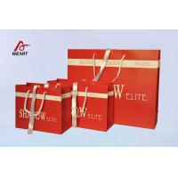Quality Red Art Paper Bags / Colored Paper Gift Bags Middle Hole Glued White Ribbon​ wholesale