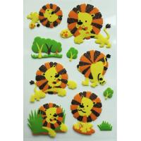 Lovely Animal Style 3D Fuzzy PVC Dimensional Puffy Sticker with Glitter