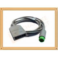 Green 12 Pin ECG Trunk Cable 5 Leads Flexible With UL And Rohs Standard