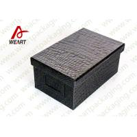 Quality Black Leather Coated  Branded Products Cardboard Gift Boxes With Lids OEM wholesale