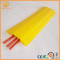 Best Yellow PVC Body 3 Channel Cable Guard Ramp / Cable Cross / Cable Cord Protector wholesale