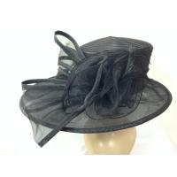 Quality Black Organza Hat Squred Satin Braid Crown And Uneven With Organza Trimming wholesale