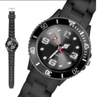 Quality Fashion Male Black Ice Silicone Bracelet Watch Japan Movt 43MM Size for Giveaway Gift wholesale