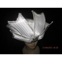 Quality Polyester Satin Braid Ladies Church Hats White With Round Crown Diamond For Party wholesale