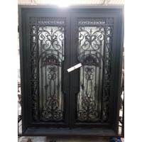 2016 Popular Style Wrought Iron Entry Door With Dual-Panel Tempered Glass