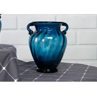 Solid Custom Big Glass Vase Decoration , Hotel Blue Handmade Glass Vase