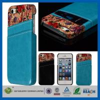 Flower Leather Pocket Back Hard Iphone 5 5S Apple Cell Phone Cases With Card Holder