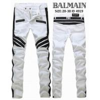 Balmain Cotton-Blend Denim Classic Slim-Fit Biker Jean Distressed With Rips And Shredding Stretch-Cotton Twill Jeans