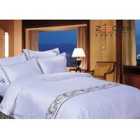 Quality Logo Embroidery Satin White Hotel Bed Linen Soft Top Grade 400TC wholesale