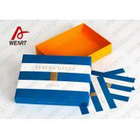 Quality Hot Stamped Blue Foil Recycled Cardboard Gift Boxes With Lids Stripped Pattern wholesale