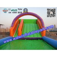 Quality Outdoor Sport Game Zorb Ramp / Roller Ball Inflatable Steep Hill With Pool wholesale