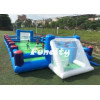 Best 0.55MM PVC Tarpaulin Inflatable Human Foosball Court , Inflatable Soap Soccer Field For Football Games wholesale