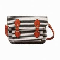 Quality Ladies Canvas Handbags For Shopping / Girls Stripe Cross-Body Bag With Polyester Inner wholesale
