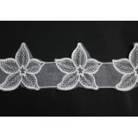 Quality White 6.5cm Organza Lace Trimmings Delicacy Cotton And Poly With Flower Pattern wholesale