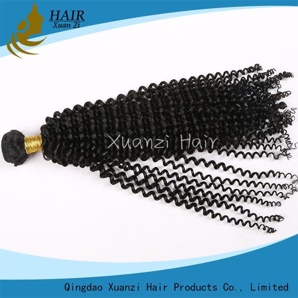 Cheap Natural Black Malaysian Deep Curly Hair , Brazilian Virgin Hair  Kinky Curly for sale