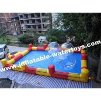 Best 0.6mm Plato PVC Tarpaulin Red and Blue Inflatable Swimming Water Pool for amusement park wholesale