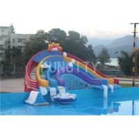 Best 0.55mm PVC Tarpaulin Four Lane Inflatable Rainbow Water Slide For Water Park Games wholesale