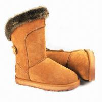 Quality Snow Boot with Rabbit Fur Collar, Cow Suede Upper, Shearling Lining/Insole and Bronze Rivet on Back wholesale