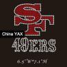 Quality 100%QC Custom Crystal Rhinestone Iron on Transfer;Wholesale iron on transfer 49ers rhines wholesale