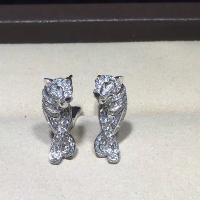 Customized 18K Gold Luxury Diamond Jewelry Panther Earrings With Black Lacquer