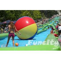 Best Colorful Inflatable Water Pools Custom Made 0.9 PVC Tarpaulin with Long Slide wholesale