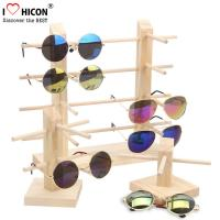 Quality Countertop Colorful Waterproof Acrylic / Wood Sunglasses Display Rack wholesale