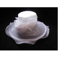 Quality Comfortable, Elegant Church Organza Hat for Women With Organza Self Trim and Roses wholesale