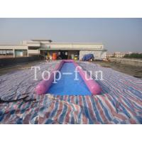 Quality 0.9mm PVC Tarpaulin Inflatable Big Air Slide / Circle / Blob For Water Purple or Blue wholesale