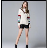 Quality 100%cotton stripped cable pullover ladies' knitted sweater 2016 wholesale