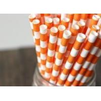 Best checkered orange party paper straws wholesale