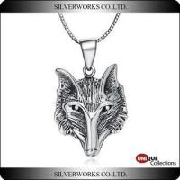 Antique Wolf head 925 sterling silver pendant Unique Punk rock roll band necklace charms