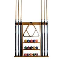 Best 6 Pool Cue and Ball Wall Rack Holder Oak Finish wholesale