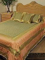 Quality 5PC Peach, Green & Gold Queen Sari Bedding Bedspread Set wholesale