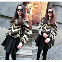 New Arrival Multicolor Striped Patchwork Faux Fur Women Sweater Casual Clothes