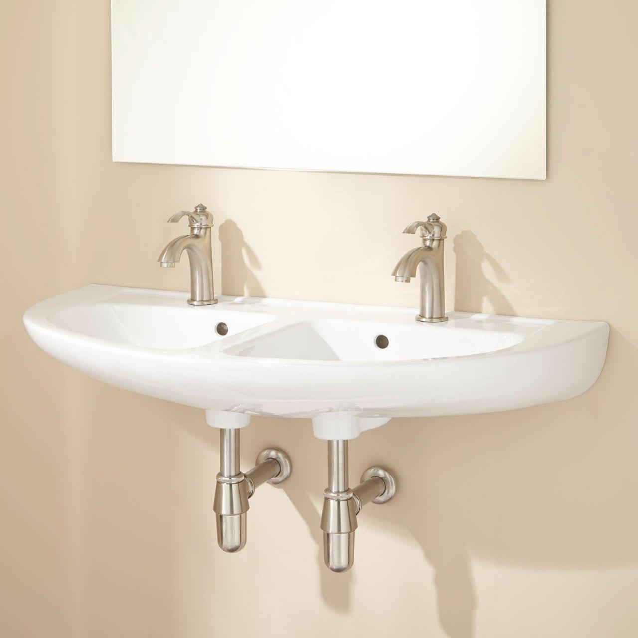 double wall mount sink