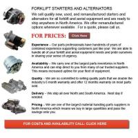 Quality Forklift Alternators and Starters wholesale