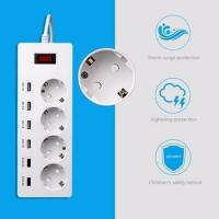 Power Extension Socket European Standard Fire-resistance PC Material with 6 USB For Home and Office